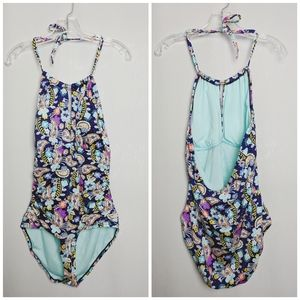 Liz Claiborne Blue Paisley Halter Tie Swimsuit 16
